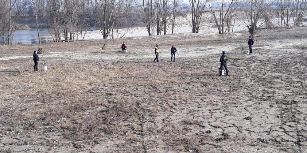 9 febbraio- Addestramento ricerca dispersi in superficie a Zevio, lungo l'argine del fiume Adige